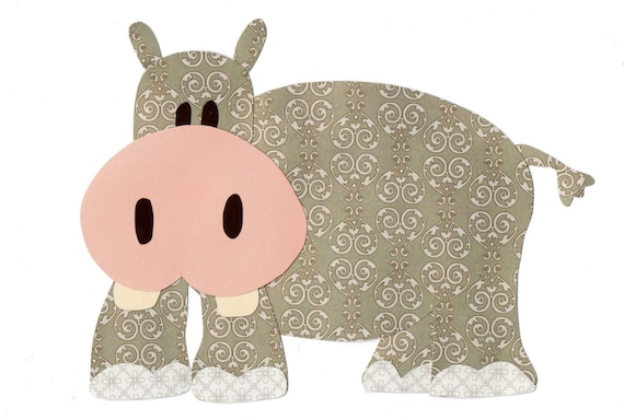 Items Similar To Applique Template Zoo Animals Hippo On Etsy