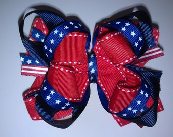4th of July Hair Bow-Patriotic Stars and Stripes-Red White and Blue Bow