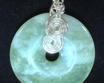 New Jade Donut Pendant with Silver-Plated Accents and Chain