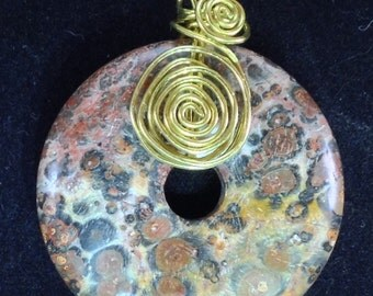 "1.5"" Poppy Jasper Donut Wire-Wrapped Pendant, 18"" Gold-Plated French Rope Chain"