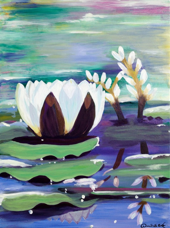 """Original Acrylic Painting On Canvas """"Water Reflections"""""""