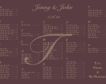 Elegant Wedding Seating Chart Maroon & Champagne