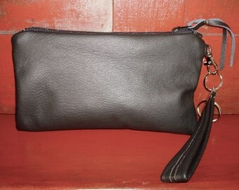 Free US Shipping Black Leather Wristlet Clutch Bag