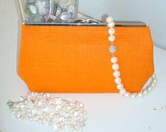 Free US Shipping Orange Linen Clutch Purse