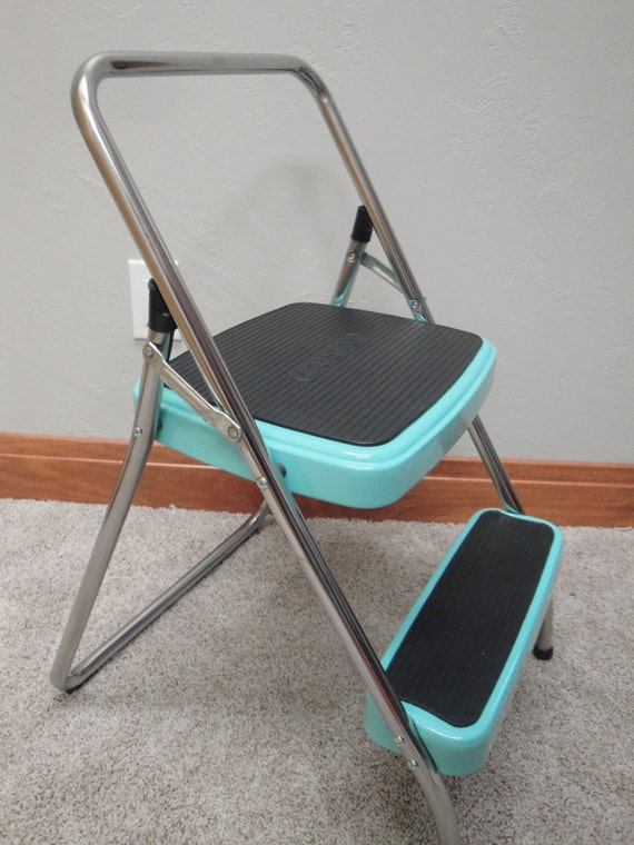 Vintage Folding Cosco Restored Step Stool Aqua By Retrocosco