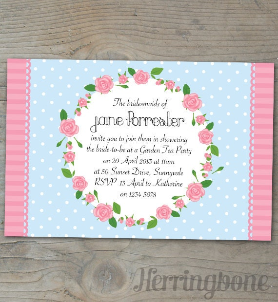 Items similar to bridal shower garden party invitation on etsy for Garden party bridal shower