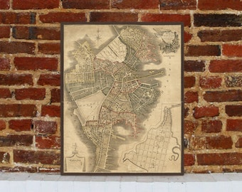 1814 Boston Vintage Map Canvas Print