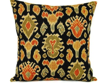 Sale Black Pillow Cover Ikat Orange Olive Tan Khaki Decorative Throw Toss Accent Sofa Couch Pillow 18x18