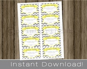 Baby Shower Diaper Raffle Tickets yellow and gray chevron INSTANT DOWNLOAD diy digital printable file print your own , babyshower