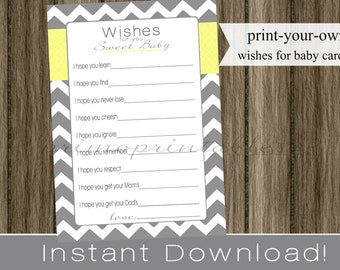 Baby Shower Wishes for Baby cards, neutral, gray chevron and yellow INSTANT DOWNLOAD diy printable file print your own, babyshower idea