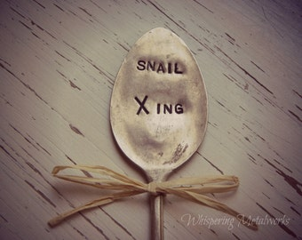 Garden pick - silver plated spoon - Snail Xing - plant marker - hand stamped