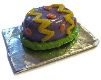 Dollhouse miniature Easter egg cake