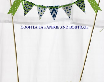 Navy Blue and Lime Green Cake Bunting