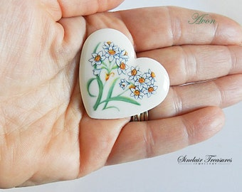 Vintage Ceramic Avon Heart Pin, Floral Painted Heart Brooch/Pin