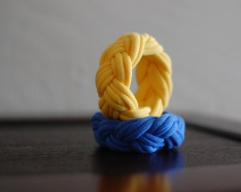 Fabric Bracelets Yellow and Blue Braided Bracelets Cuff