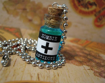 Zombie Antidote 1ml Glass Bottle Necklace Charm - Walking Dead Virus Antivirus Cure - Halloween Potion Vial Pendant