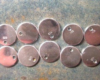 10% OFF ;). 10 Sterling Silver Blanks, 9mm Round Blank Tag, 24ga, 1mm Hole, WHOLESALE, Stamping