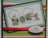 Christmas Card - Snowmen Noel in green (Handmade by Hayley)