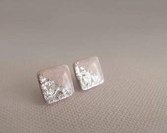 Light Pink Silver Square Stud Earrings - Hypoallergenic Surgical Steel Post