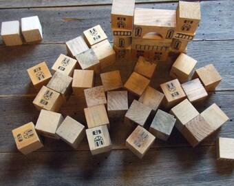 Vintage Wooden Blocks 43 pcs.  Erzgebirgische Holzspielwaren Ebert made in Germany