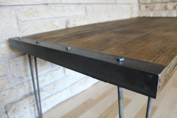 . Industrial Rustic Reclaimed Wood Coffee Table on Hairpin Legs