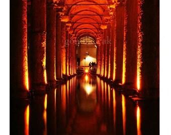 Basilica Cistern, Sunken Palace, Architecture, istanbul, istanbul photography, Yerebatan, wall decor, colour, 8''x8'' inch
