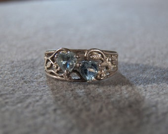 Vintage Sterling Silver  2 Heart   Blue Topaz Bold  Scrolled Filigree Art Deco  Style Band Ring, Size  6