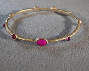 Vintage Yellow Gold Tone  Multi  Round  Oval Purple Ruby Red Purple Rhinestone  Bangle Bracelet
