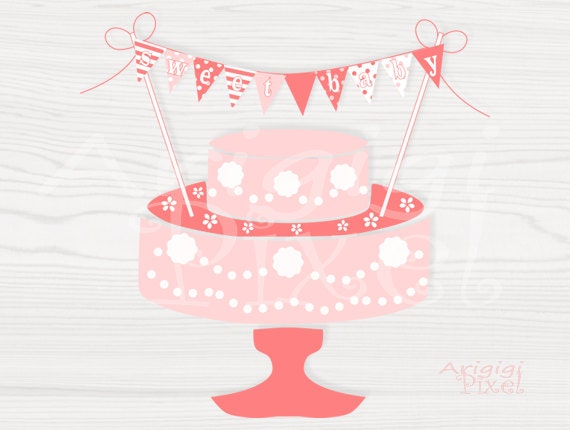 Sweet Baby Banner for cake decoration, printable DIY peach pink baby shower cake topper, easy download PDF file