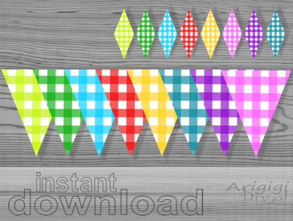 gingham party flags, mini cake banner included, gingham banner rainbow colors, party printables, download PDF files