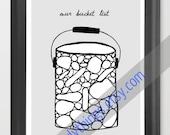 "Bucket List Print - 11x14 Blank ""Our Bucket List"" Print - Display your dreams - Wall Art"