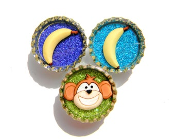 Magnet Set of 3 Monkeys and Bananas Glitter Resin Filled Bottle Caps