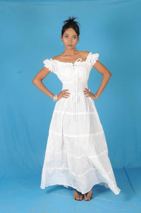 white cotton peasant sun long maxi boho hippie gypsy by