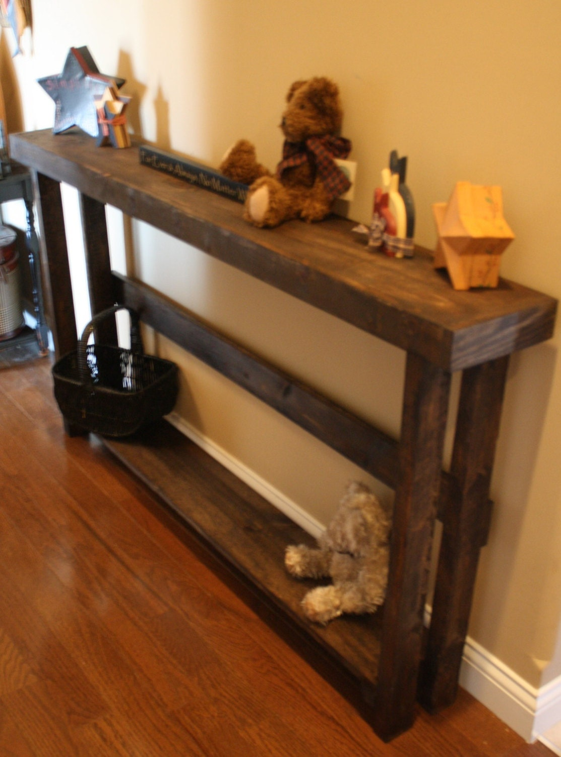 Elegant dark walnut stained 5 foot rustic sofa hall entry for 5 foot console table