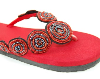 Red silk beaded flip flops SIZE 9 only remaining
