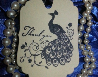 100 PEACOCK THANK You Tags
