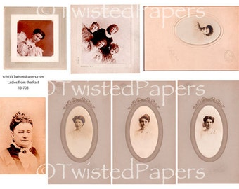 VINTAGE PHOTOS and Cabinet Cards of WOMEN from the 1880s-early 1900s, Digital Collage Sheet, 13-703