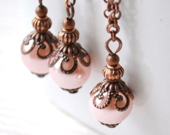 Pink rustic bridesmaid jewelry 5 sets, Pink pearl 5 Necklaces and Earrings Bridesmaid gift Beaded jewelry Wedding party