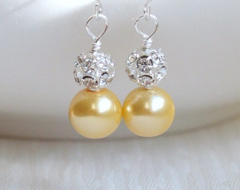 Bridesmaid Jewelry Yellow Bridesmaid earrings Pearl Bridesmaid gift Bridesmaid jewelry Yellow wedding party earrings