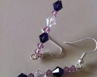 Shades of Purple Swarovski crystal Earrings