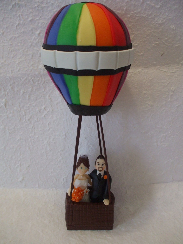Custom bride and groom on hot air balloon wedding cake topper