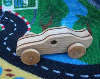 Handmade, wooden 3-tone racecar