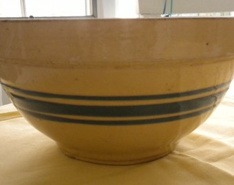 Blue Banding Yelloware Vintage Bowl