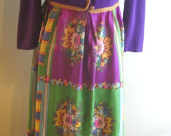 Vintage Lane Bryant Solid Purple Top/Green Purple Floral Bottom/Gold Trim