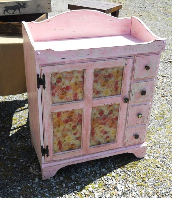 Serene Village -  SOLD!!!!  Shabby Chic, Dry Sink, Baby Changing Table, Distressed, Pink, Bedroom Furniture
