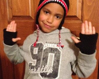 Crochet Child size fingerless mitts gloves.  Boy or girl - Any color -
