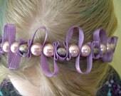 Lilac purple ribbon and rose bead headband. Metallic beads, pink glass pearls.