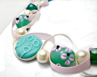Pink and turquoise bead and ribbon necklace. Pink flower beads, ceramic designs. Spring floral jewelry. Ships free.