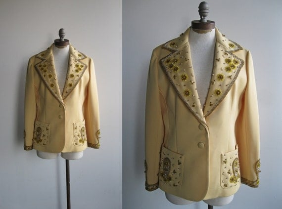 1960's Women's Pale Yellow Lilli Ann Paris Blazer Jacket Paisley and Floral Beaded and Pearl Details in Silver an Gold