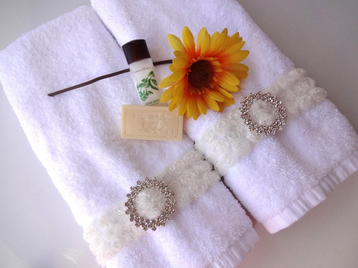 rhinestone rose shabby chic bath hand towel white by augustave